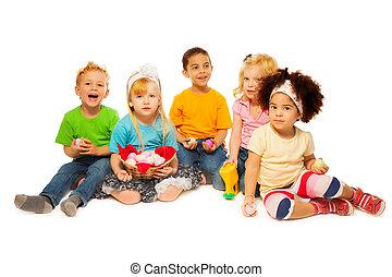 Little's kids Easter egg basket - Easter colored eggs basket...