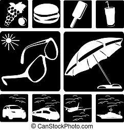 Collection of symbols of travel