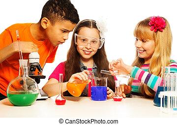 tres, niños, química, Laboratorio