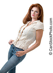 Attractive red hair woman wearing casual clothing standing...