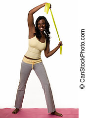 Working out - Attractive African American woman wearing...