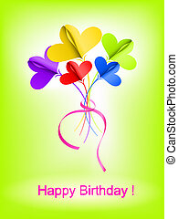 Happy Birthday background - Abstract bouquet of paper...