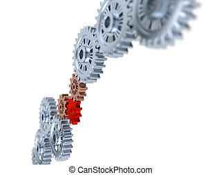 Some Silver Gears blurred with one Red