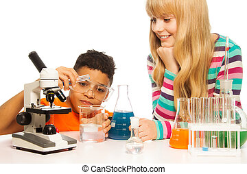 Kids in the school lab