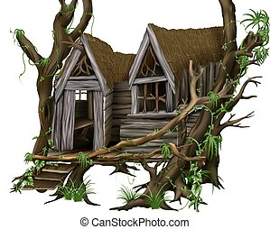 Jungle Hut - tropical building, hand drawn source image