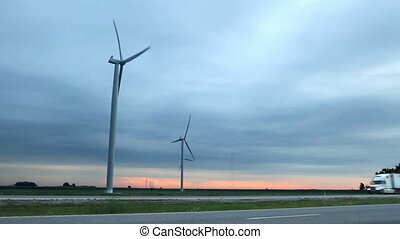 Wind Farm by Highway Two Shots - Two shots in one A semi...