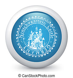 Vector blue glossy icon - Vector illustration of famous...