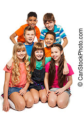 Group of 7 kids together - Group of 7 happy smiling kids...