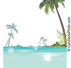 Seascape with palm trees - This illustration is a common...