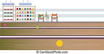 Bowling balls in lane - This illustration is a common...