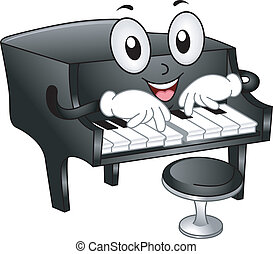 Grand Piano Mascot - Illustration of Grand Piano Mascot with...