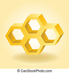 Abstract 3d honeycomb background Vector illustration