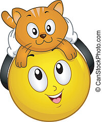 Smiley with Pet Cat - Illustration of Smiley holding a pet...