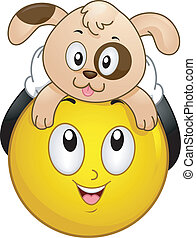 Smiley with Pet Dog - Illustration of a Smiley holding a Pet...