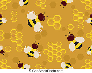 Bees Background - Background Illustration of Honey Bees in a...