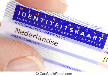 Dutch ID card in hand - hand holding Dutch ID card isolated...
