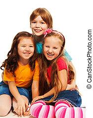 wenig, Kinder, drei, glücklich