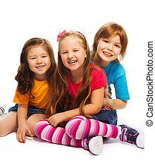 Group of three 7 years old kids - Group of three kids, two...