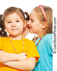 Happy smiling girls - Two little 6-7 years old Asian and...