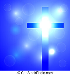 Background with cross - Cross shines a beautiful light