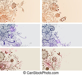 Vintage cards - Vector vintage hand drawn cards with flowers...