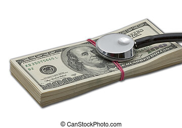 Health costs - Stethoscope on money pack of hundred dollar...