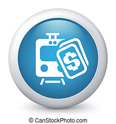 Vector blue glossy icon. - Vector illustration of train cost...