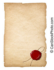Old paper with wax seal isolated. Clipping path is included.