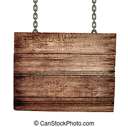 old wooden signboard with chains isolated