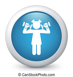 Vector blue glossy icon. - Vector illustration of blue...