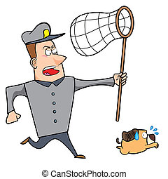 Cartoon Animal Control Officer Chasing Dog with Net