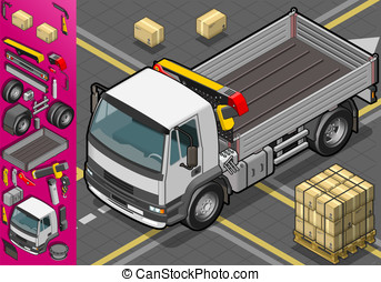 isometric container truck - Detailed illustration of a...
