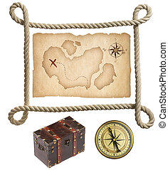 Old treasure map, rope frame, chest and compass isolated on white