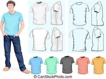 Men's t-shirt design template - Vector. Men's t-shirt design...