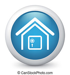 Vector blue glossy icon - Vector illustration of blue glossy...