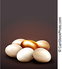 background with a golden egg surrounded by normal eggs