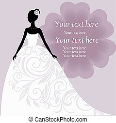 Bride in a white wedding dress with floral ornament vector