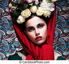 Romance. Refined Young Woman with Bunch of Colorful Flowers. Beauty