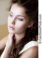 Tenderness. Face of Tranquil Refined Young Woman. Natural...