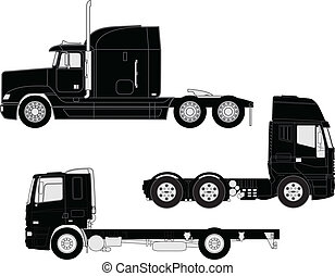 Truck silhouettes - Vector detailed trucks silhouettes set