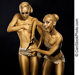 Coloring. Ridiculous, Comical and Humorous Women. Gold Metallic Make Up. Expression
