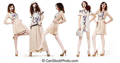 Collage of Glamorous Pretty Girls Shoppers in Modern...