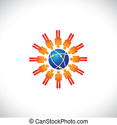 Illustration of community of people with a center globe icon. The graphic represents people community forming social network