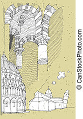 Sketching Historical Architecture in Italy: Pisa....