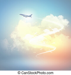Image of airplane in sky - Image of flying airplane in sky...
