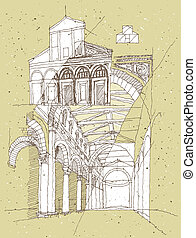 Sketching Historical Architecture in Italy: San Miniato....