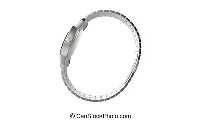 Silver wristwatch rotates on white background