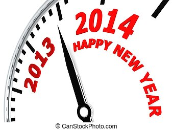 New year 2014 - Rendered artwork with white background