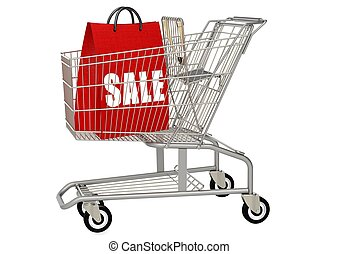 Shopping bag in shopping cart - Rendered artwork with white...