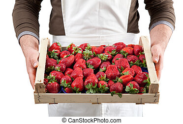 Strawberries in box - Fresh strawberries in wooden box